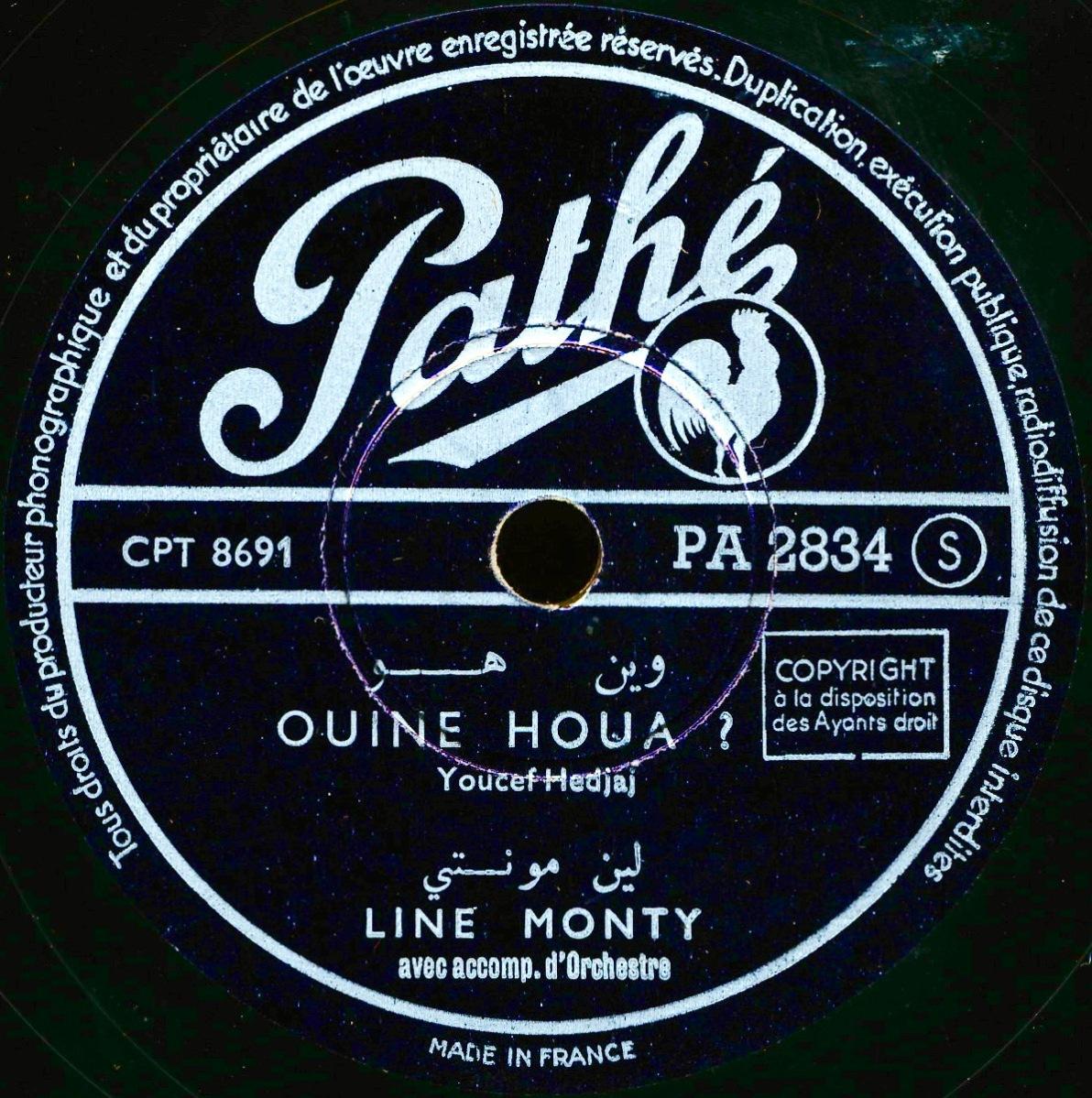 Line Monty – Ouine houa? – Pathé, c. 1952